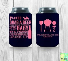 Customized Baby Shower Koozies Perfect Baby by MintandLemon Baby Shower Quotes, Baby Q Shower, Baby Shower Prizes, Baby Shower Gifts For Boys, Baby Shower Invites For Girl, Girl Baby Shower Decorations, Baby Shower Centerpieces, Football Baby Shower, Banner
