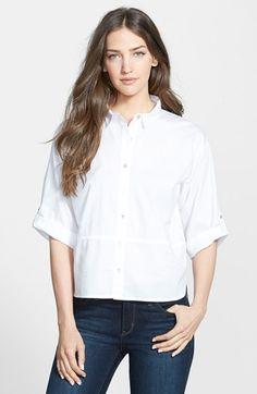 Petite Women's Eileen Fisher Classic Collar Stretch Cotton Shirt