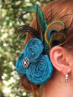 Turquoise and Peacock feathers.