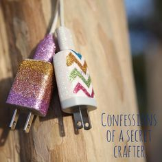 DIY iphone charger : DIY Glitter Phone Charger