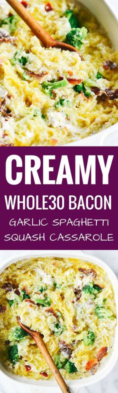 Easy whole30 creamy bacon garlic spaghetti squash bake. Paleo, healthy, and easy to make! Get ready to dig into some serious delicious and healthy eats!! How to cook spaghetti squash. Healthy spaghetti squash bake. Easy whole30 dinner recipe.