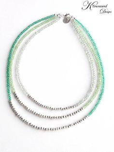 Green Ombre Multistrand Necklace Mint Green Seafoam by KTownesend, $165.00