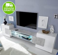 Porta TV Bianco Lucido E Beton