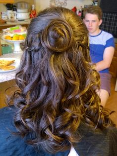 ©EmmaLouiseSatchell Prom hair waterfall braid. Curly up do. Half up do
