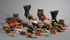 Collection of Twenty-eight Shoe-form Pincushions, late 19th/early 20th century