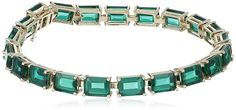 10k Yellow Gold and Created Emerald Bracelet, 7' >>> Valentines gift ideas can be found by clicking on the image.