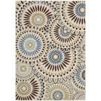 Veranda Cream/Blue (Ivory/Blue) 6 ft. 7 in. x 9 ft. 6 in. Indoor/Outdoor Area Rug