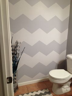 My chevron bathroom, lots of math and blue tape but couldn't be happier with end results!!