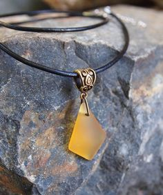 Take a look at this Golden Sea Glass & Coppertone Pendant Necklace today!