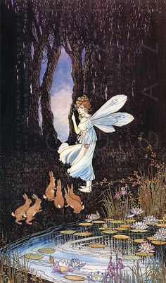 ≍ Nature's Fairy Nymphs ≍ magical elves, sprites, pixies and winged woodland faeries - Ida Rentoul Outhwaite Art And Illustration, Fantasy Kunst, Fantasy Art, Lapin Art, Art Magique, Kobold, Elves And Fairies, Vintage Fairies, Fairytale Art