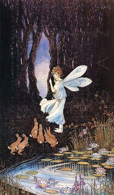 Adorable Forest Fairy & Bunnies. RARE Ida Rentoul Outhwaite Vintage Illustration Fairy Tale. Digital Fairy Download
