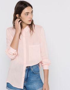 Pull&Bear - dames - blouses en hemden - effen basic t-shirt - roze…
