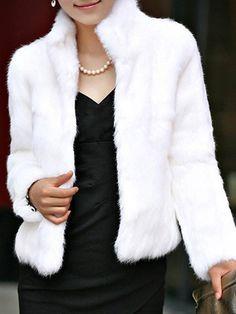 Shop Coats & Jackets - Black Faux Fur Casual Stand Collar Plus Size Fur & Faux Fur online. Discover unique designers fashion at PopJuLia.com.