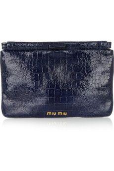 Miu MiuCroc-Effect Patent Leather Clutch