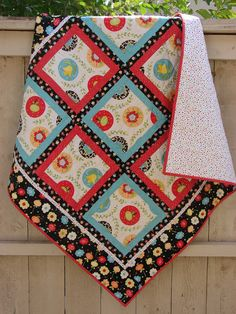 Small Quilt in Red and Aqua Fun Flowers - Baby Quilt, Table Topper, Bed Coverlet, Sofa Throw
