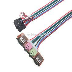 2pcs/lot Desktop pc host case Front I/O Panel USB 2.0 AUDIO Mic headphone 3.5mm plug PC case panel cable cord #Affiliate