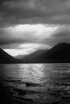 Olympic National Park - Crescent Lake, Storm Clouds, Black and White Photography, Forest, Canvas, Art, Nature, Landscape, Home Office Decor on Etsy, $65.00