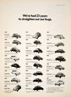 1971 VW Ad: 23 years and they couldn't figure out how to add an oil filter, a real air filter, or fix their problem with dropped exhaust valves, spun rod bearings, oil leaks, or scored pistons.