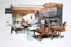 ideas living room drawing sketch idea sketch living room marker rendering more art design living room
