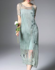 Green Silk Floral Embroidered Midi Dress, Green, Elenyun | VIPme