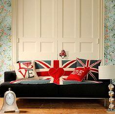 Living room with Union Jack theme Union Jack Decor, British Decor, British Style, London Decor, Sweet Home, London Calling, Beautiful Bedrooms, Cheap Home Decor, My Room