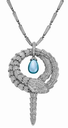 The Bulgari Serpenti necklace featuring a diamond encrusted serpent encircling a single aquamarine bought by Justin Bieber for $545,000 at the 2014 amfAR Cinema Against AIDS auction at the Cannes Film Festival. Bieber outbid Leonardo DiCaprio for the one-of-a-kind jewel.