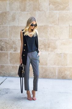 Express ankle pants , double breasted sleeveless blazer, black cami