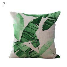 Kissenbezüge 45x45 Grün Pflanzen Bilder Deko Leinen Sofa Kissen Kissenhüllen