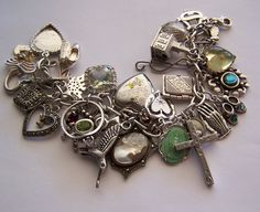 Loaded Vintage Sterling Charm Bracelet 33 Charms Religious Hearts Lockets