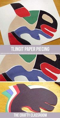 Art Project Native American Crafts: Tlingit and Haida Art. Paper Piecing art project for kidsNative American Crafts: Tlingit and Haida Art. Paper Piecing art project for kids Haida Kunst, Haida Art, School Art Projects, Projects For Kids, Art Projects For Kindergarteners, Art Education Projects, History Projects, Project Ideas, Kunst Der Aborigines
