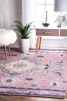 FerganaUZB72 Hand Hooked Imperial Medallion Floral Rug