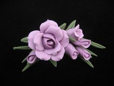 Lavender Cold Porcelain Rose Pin by doughroses on Etsy, $15.00