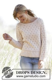 "Vintage Charmer - Knitted DROPS jumper with a small cable edge, lace pattern and raglan in ""Baby Merino"" or ""DROPS ♥ You #7"". Size: XS - XXXL. - Free pattern by DROPS Design"