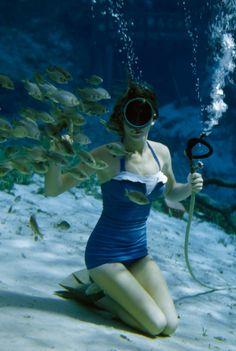 1950s swimsuit photographed underwater