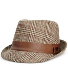 Sean John Men's Tweed Plaid Fedora  - Brown