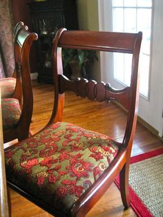 """What do you see cluttering up the corner of my dining room?? Eight, yes eight antique mahogany """"Duncan Phyfe"""" dining chairs! If yo..."""