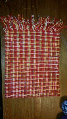 Warp: orange/yellow/white verigated yarns Weft: same 100% cotton
