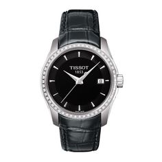 98825c2641a Tissot Women s T0352106605100 Couturier Diamond Black Leather Watch