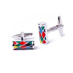 Stainless Steel Men Cuff Link Colorized Column CuffLinks