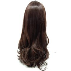 Long 24 Inch Straight Brown W Copper Highlights Heat Resistant Wig... ($50) ❤ liked on Polyvore featuring beauty products, haircare, hair styling tools, hair and hair styles