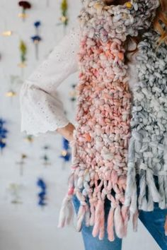 Counting Sheep Scarf Pattern – Knit Collage ~ Stunning chunky, bulky knit scarf pattern in our Wanderlust or Flower Child yarn!