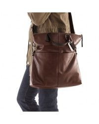 Brown Thompson Leather Perforated Foldover Tote