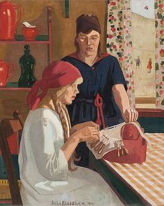 The Lace-Maker by Juho Rissanen was one of the first Finnish painters, Types Of Lace, Lace Painting, Lace Art, Lacemaking, Bobbin Lace, Female Art, Finland, Oil On Canvas, Needlework