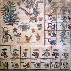 Page 6: Codex Bourbonicus -  The eighth week of the 260-day cycle tonalpohualli pictures the god Mayauel and a dancer.  Aztec Codex from around the time of the Conquest of Mexico, either just before or just after. #CodexBourbonicus