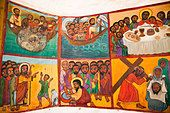 Naive Paintings (Ethiopian style) of biblical stories in a church in kalacha Kenya - Stock Photo