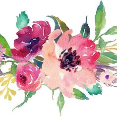 Watercolor Wild Flower Pink Bouquet @redbubble
