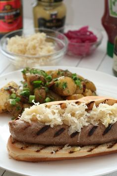 Beer Brats with kraut and potato salad, perfect summertime meal!