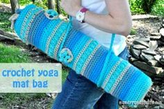 Half double crochet is worked in rounds to get this Yoga Bag. Easy crochet bag patterns like this really make you want to crochet many of them. If you're into a healthy lifestyle and working out then you'll love this design.