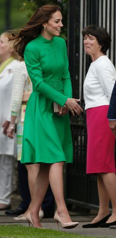Will & Kate, Duke & Duchess of Cambridge, attend Chelsea Flower Show. Kate was wearing a green bespoke Catherine Walker coat dress, her LK Bennett 'Nina' clutch & LK Bennett 'Fern' heels. - 5/23/2016
