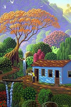 Painting the Flamboyant Tree by Edivaldo Barbosa de Souza - GINA Gallery of International Naive Art Art And Illustration, Artist Painting, Painting & Drawing, Light Painting, Art Paintings, Haitian Art, Caribbean Art, Art Brut, Naive Art
